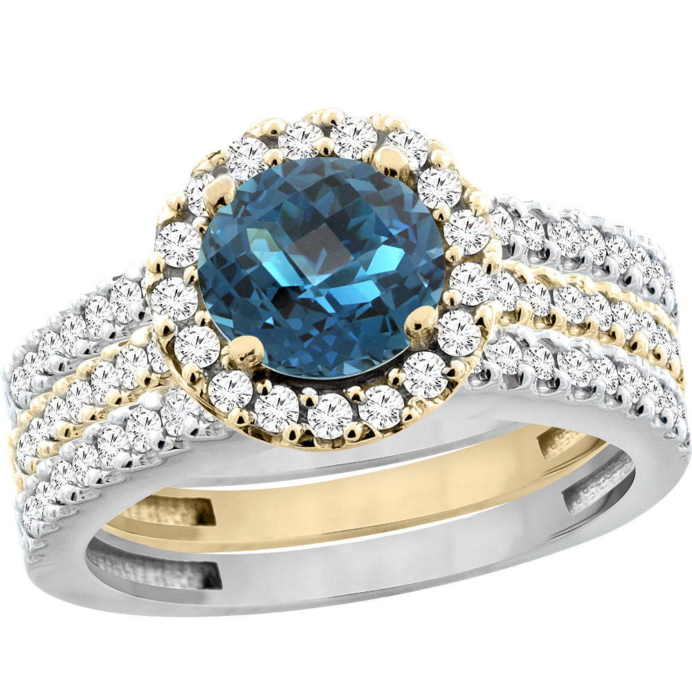 14K Gold Natural London Blue Topaz 3-Piece Ring Set Two-tone Round 6mm Halo Diamond, sizes 5 - 10