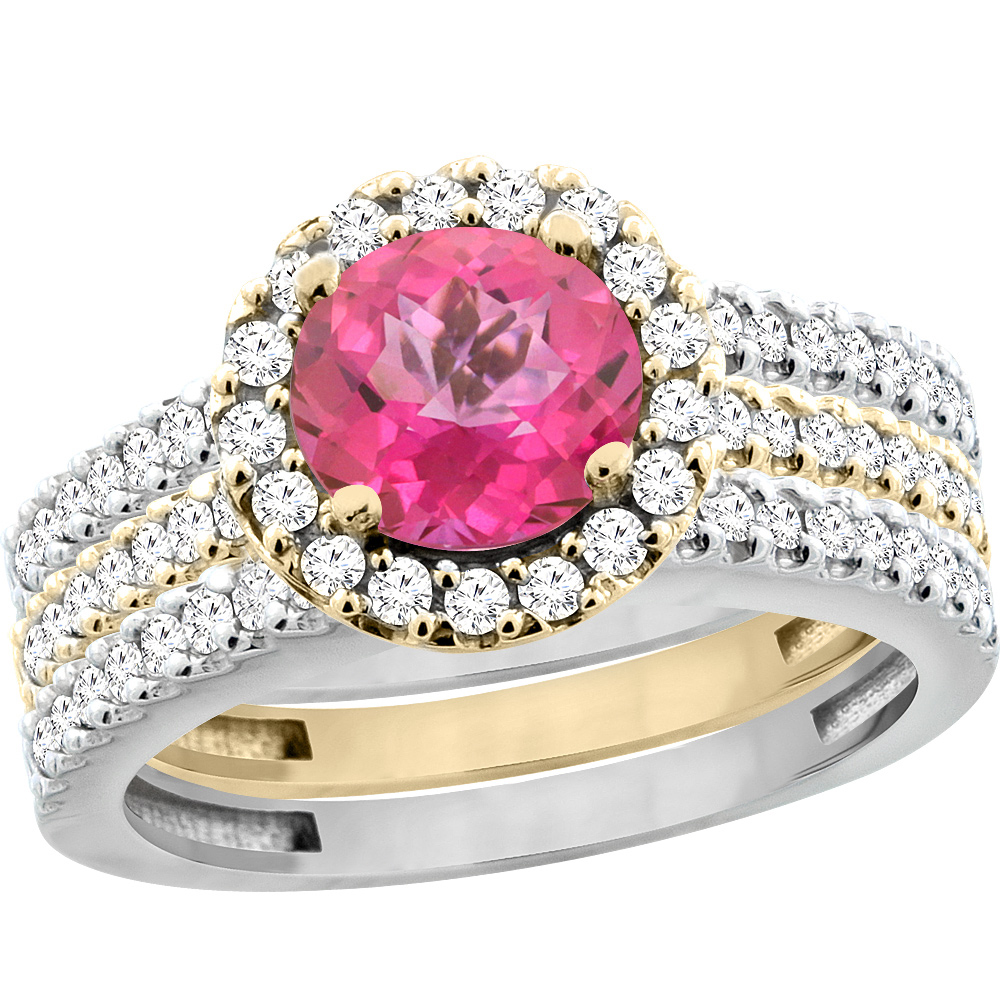 14K Gold Natural Pink Topaz 3-Piece Ring Set Two-tone Round 6mm Halo Diamond, sizes 5 - 10