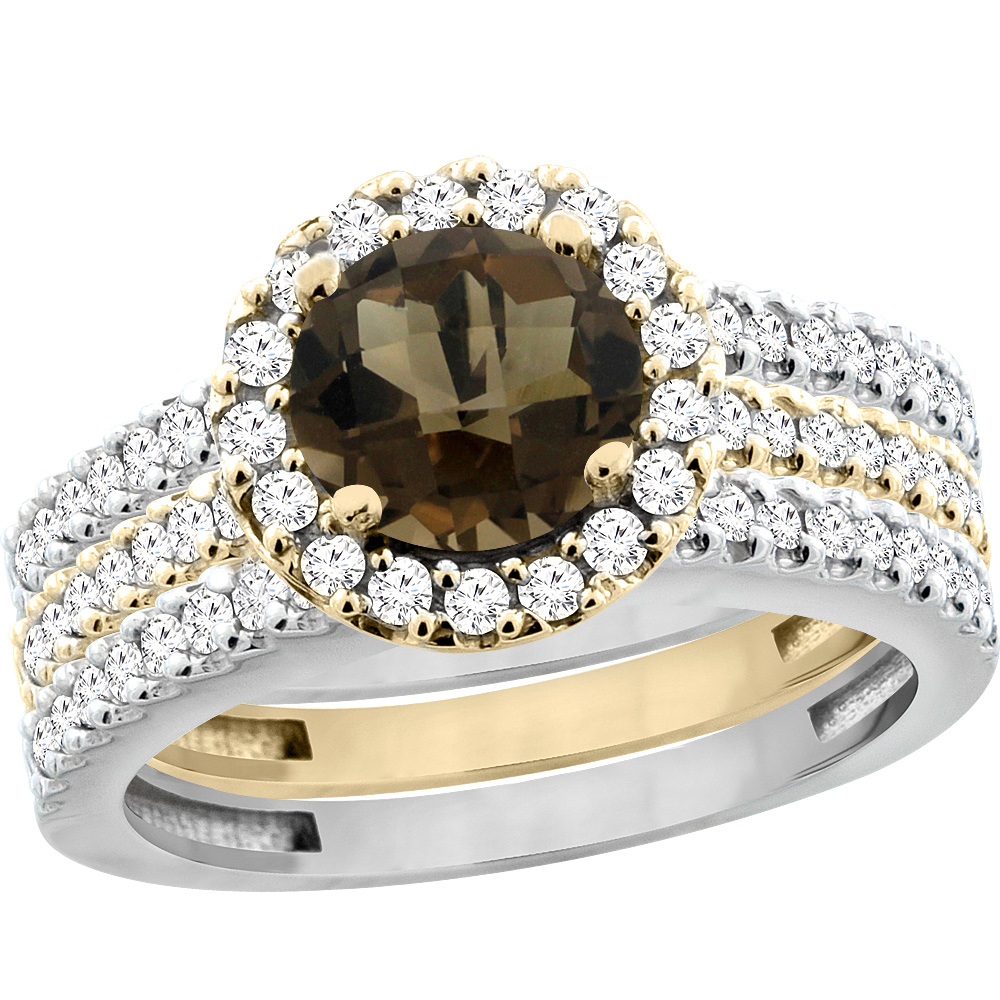 10K Gold Natural Smoky Topaz 3-Piece Ring Set Two-tone Round 6mm Halo Diamond, sizes 5 - 10