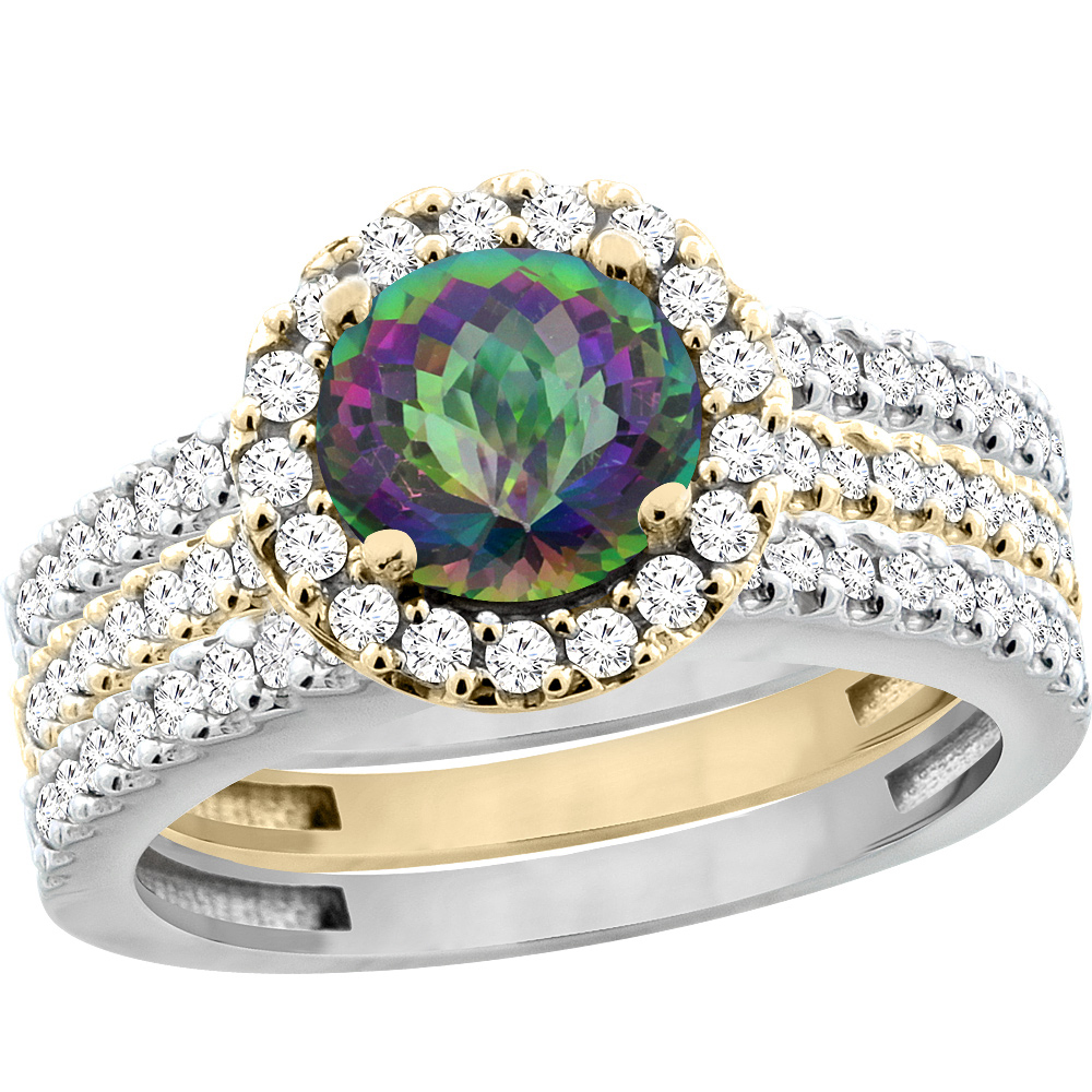 14K Gold Natural Mystic Topaz 3-Piece Ring Set Two-tone Round 6mm Halo Diamond, sizes 5 - 10