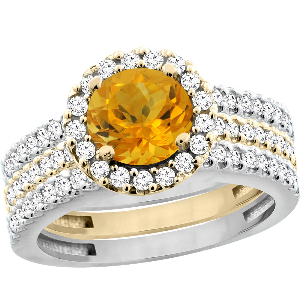 14K Gold Natural Citrine 3-Piece Ring Set Two-tone Round 6mm Halo Diamond, sizes 5 - 10