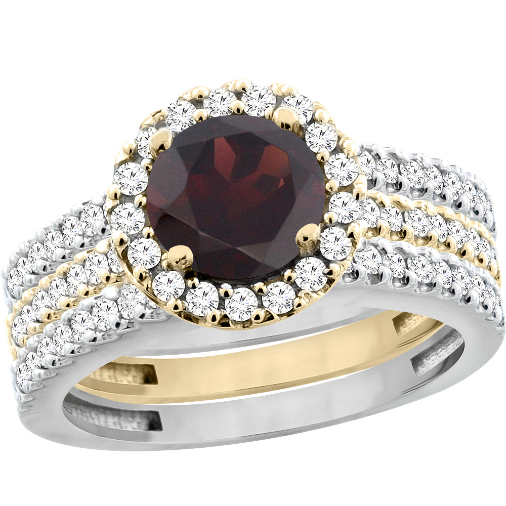 10K Gold Natural Garnet 3-Piece Ring Set Two-tone Round 6mm Halo Diamond, sizes 5 - 10