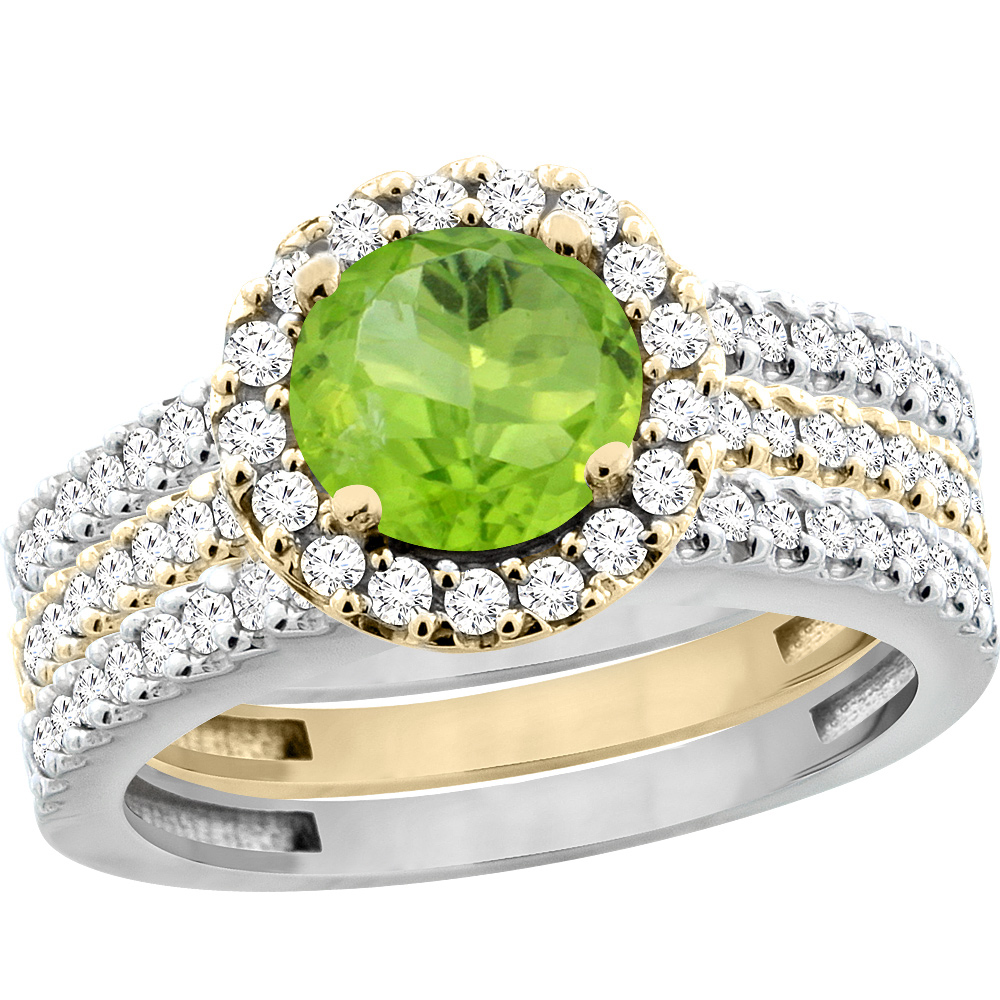 14K Gold Natural Peridot 3-Piece Ring Set Two-tone Round 6mm Halo Diamond, sizes 5 - 10