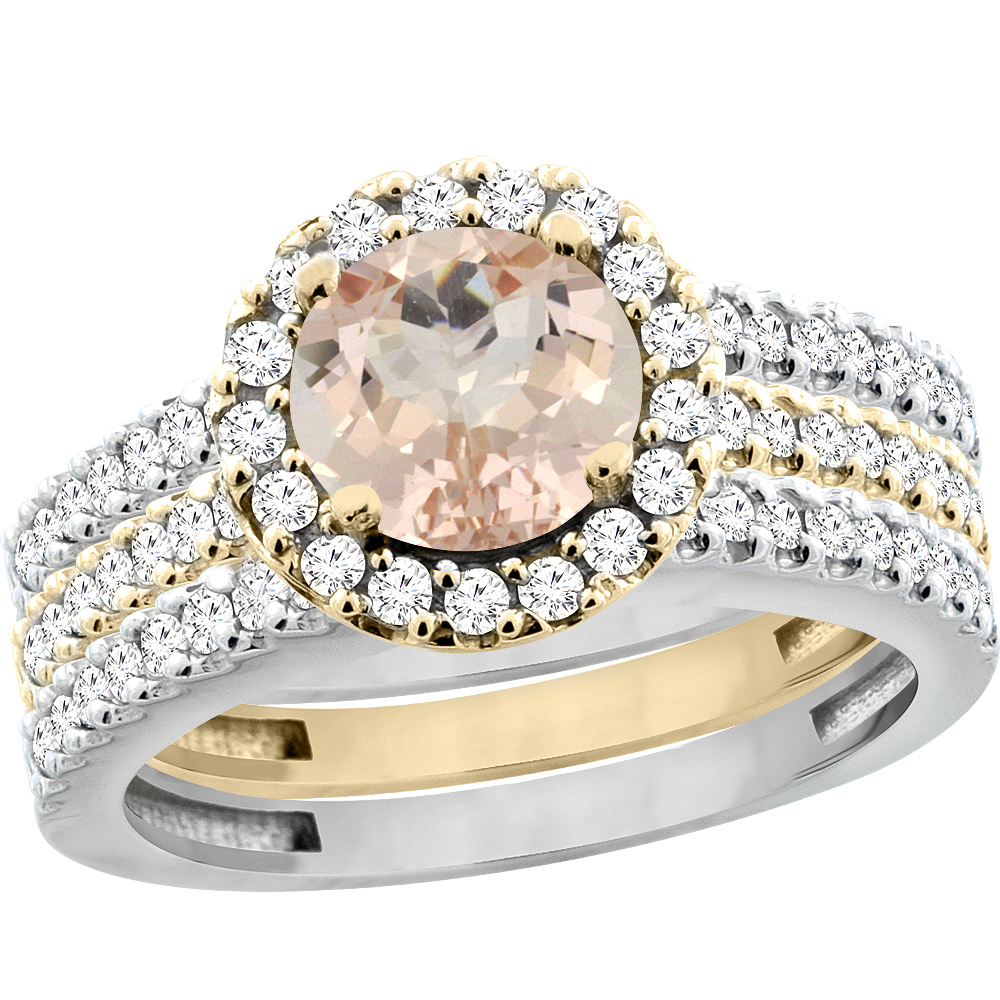 10K Gold Natural Morganite 3-Piece Ring Set Two-tone Round 6mm Halo Diamond, sizes 5 - 10