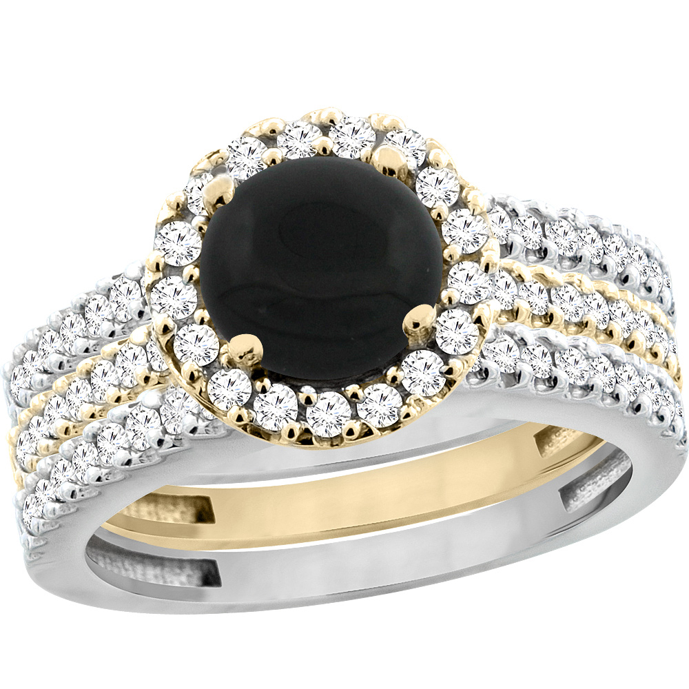 10k Gold Natural Black Onyx 3 Piece Ring Set Two Tone Round 6mm Halo