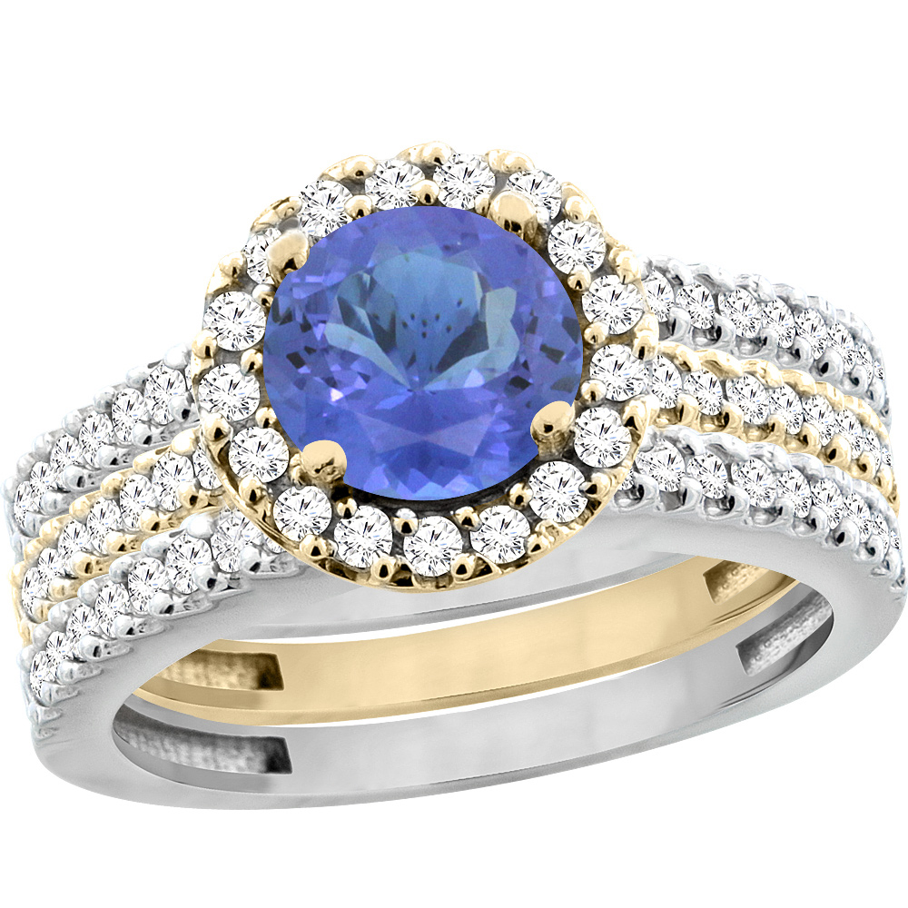 10K Gold Natural Tanzanite 3-Piece Ring Set Two-tone Round 6mm Halo Diamond, sizes 5 - 10