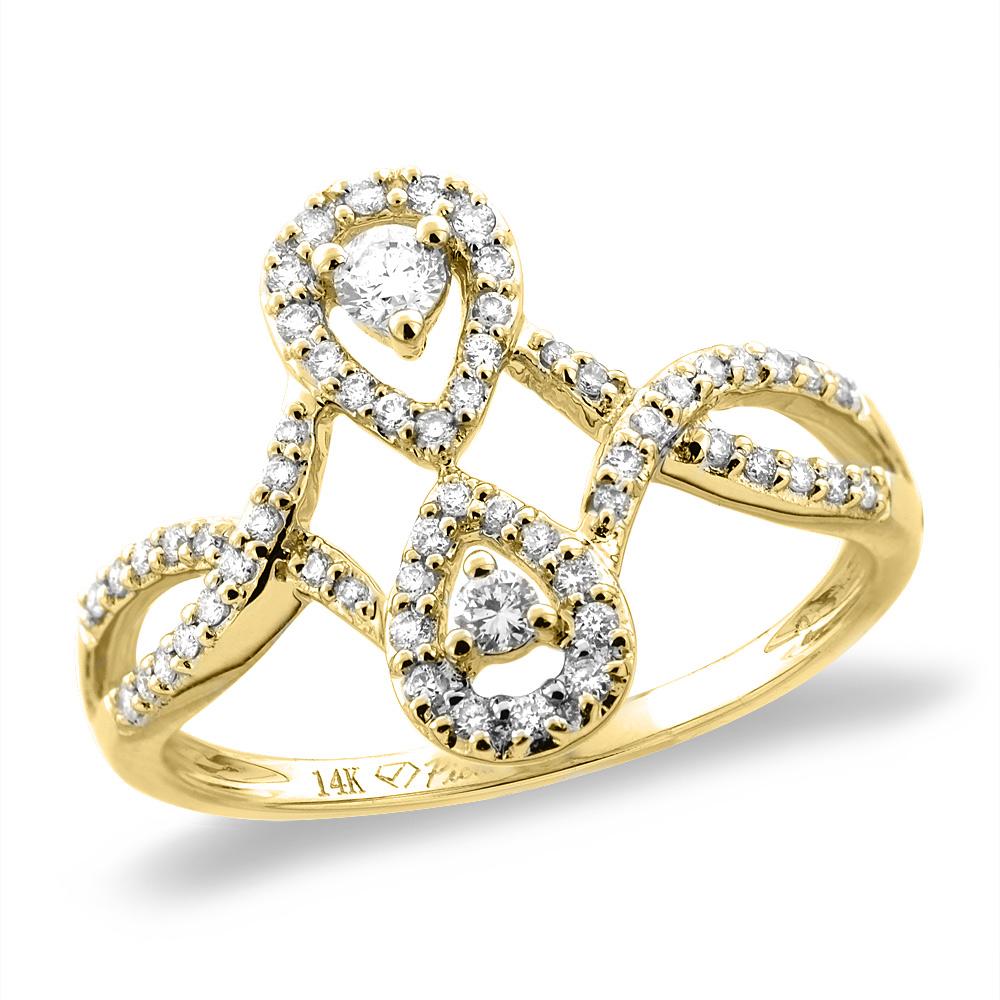 14K White/Yellow Gold 0.33 cttw Genuine Diamond Bypass Engagement Ring, sizes 5 -10