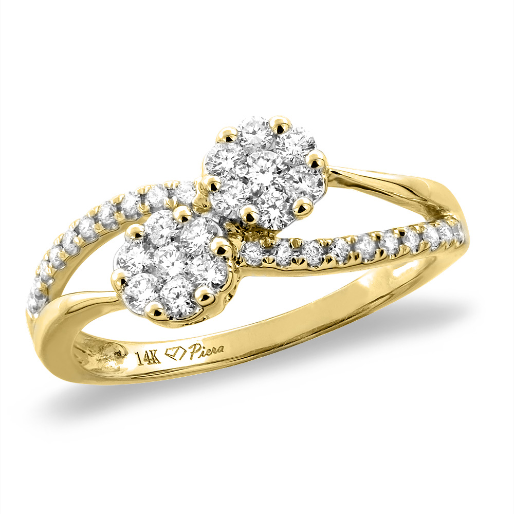14K White/Yellow Gold 0.45 cttw Genuine Diamond Bypass Engagement Ring, sizes 5 -10