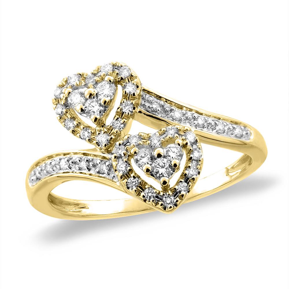 14K White/Yellow Gold 0.26 cttw Genuine Diamond Engagement Heart Ring, sizes 5-10
