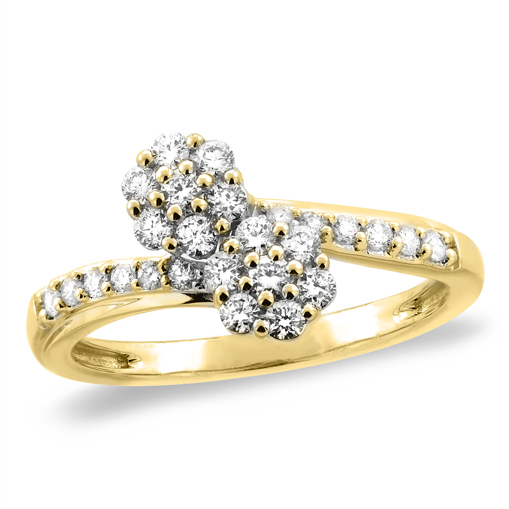 14K White/Yellow Gold 0.46 cttw Genuine Diamond Bypass Engagement Ring Floral, sizes 5 - 10