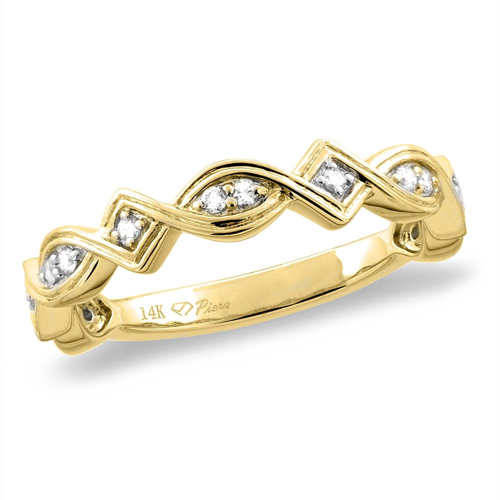 14K White/Yellow Gold 0.14 cttw Genuine Diamond Infinity Knot Wedding Band, sizes 5 - 10