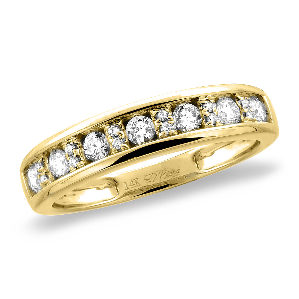 14K White/Yellow Gold 0.37 cttw Genuine Diamond Half Eternity Wedding Band, sizes 5 - 10