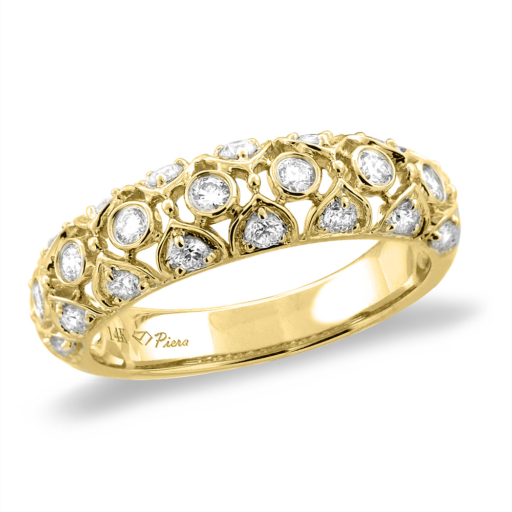 14K White/Yellow Gold 0.54 cttw 3-row Genuine Diamond Eternity Wedding Band, sizes 5 - 10