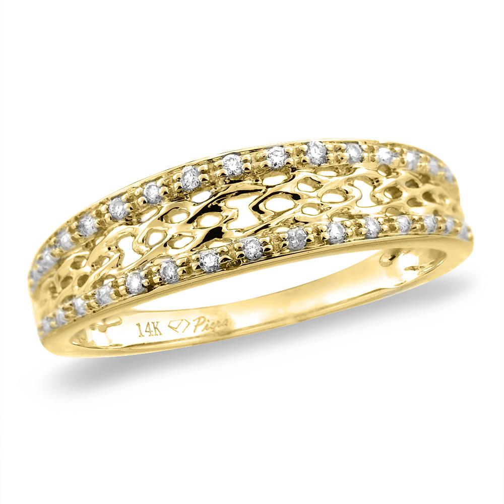 14K White/Yellow Gold 0.06 cttw Genuine Diamond Edge Outline Wedding Band, sizes 5 - 10