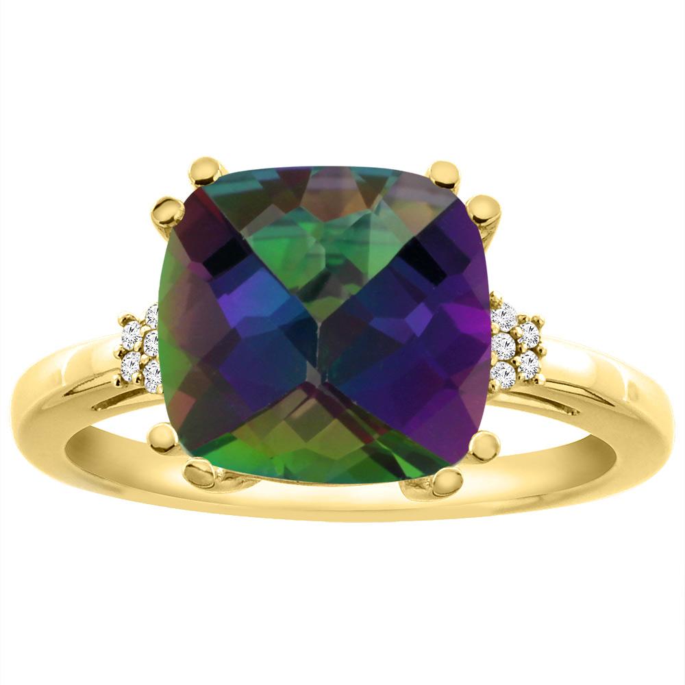 14K Yellow Gold Diamond Natural Mystic Topaz Engagement Ring Cushion-cut 10x10 mm, sizes 5-10