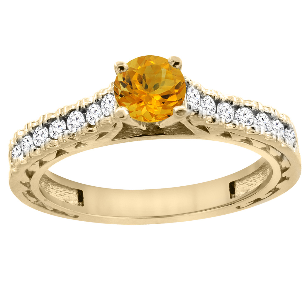 14K Yellow Gold Natural Citrine Round 5mm Engraved Engagement Ring Diamond Accents, sizes 5 - 10