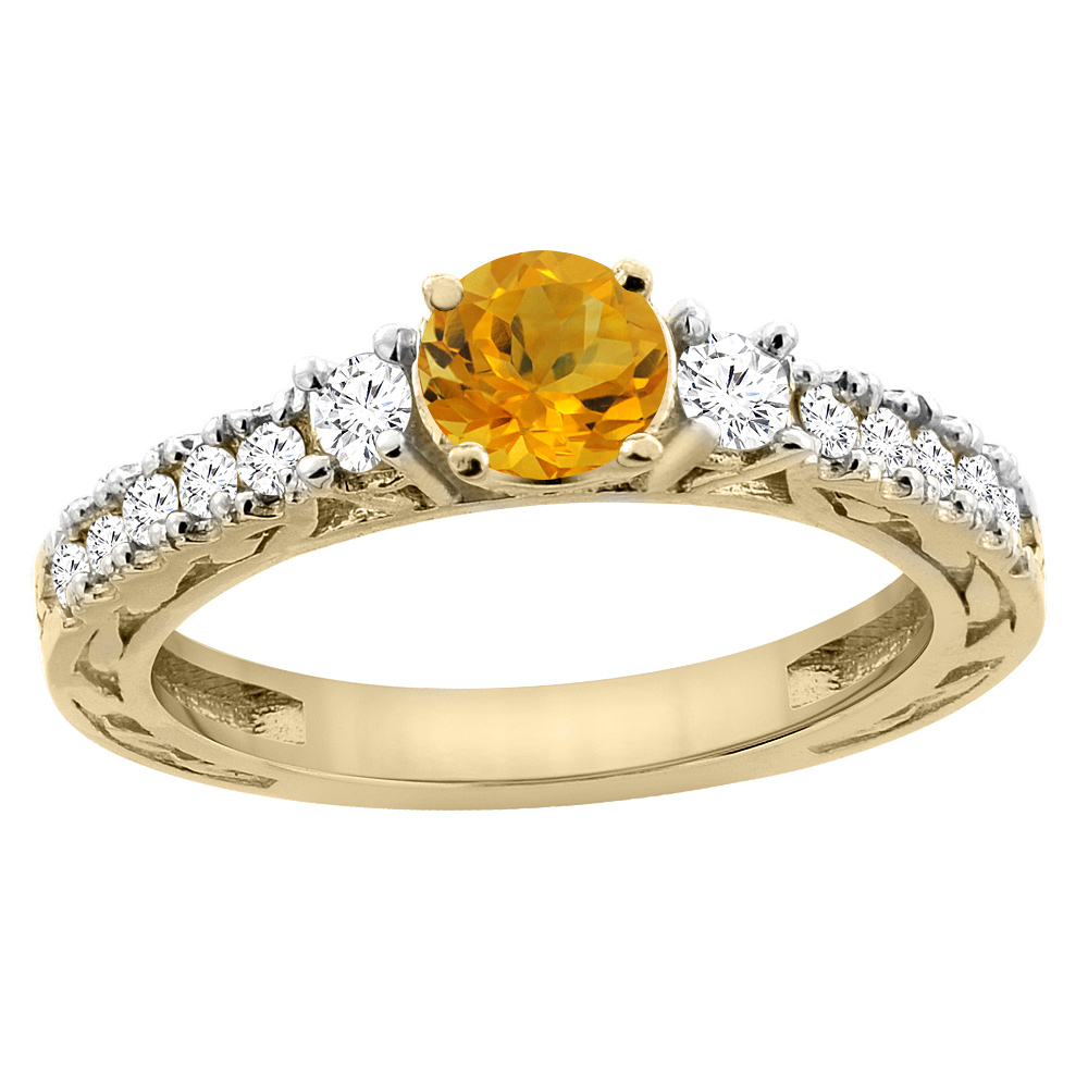 14K Yellow Gold Natural Citrine Round 6mm Engraved Engagement Ring Diamond Accents, sizes 5 - 10