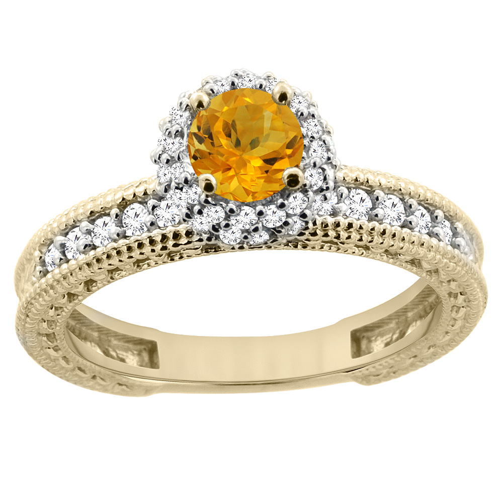 14K Yellow Gold Natural Citrine Round 5mm Engagement Ring Diamond Accents, sizes 5 - 10