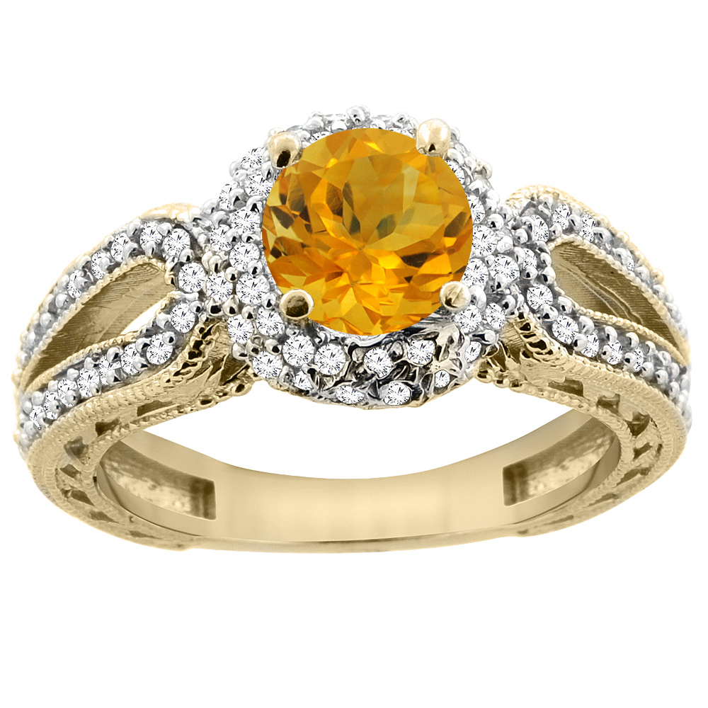 14K Yellow Gold Natural Citrine Engagement Ring Round 6mm Engraved Split Shank Diamond Accents, sizes 5 - 10