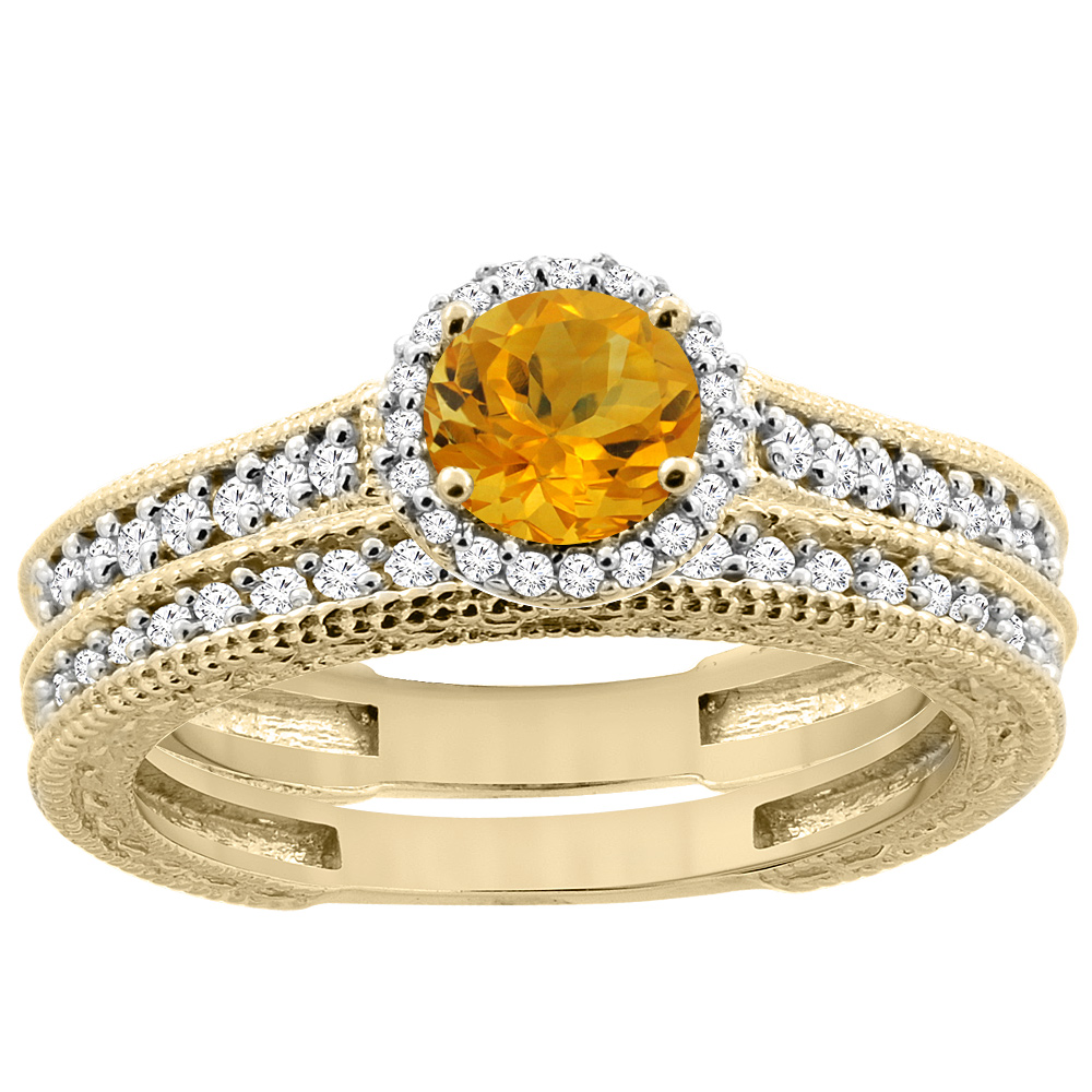 14K Yellow Gold Natural Citrine Round 5mm Engagement Ring 2-piece Set Diamond Accents, sizes 5 - 10