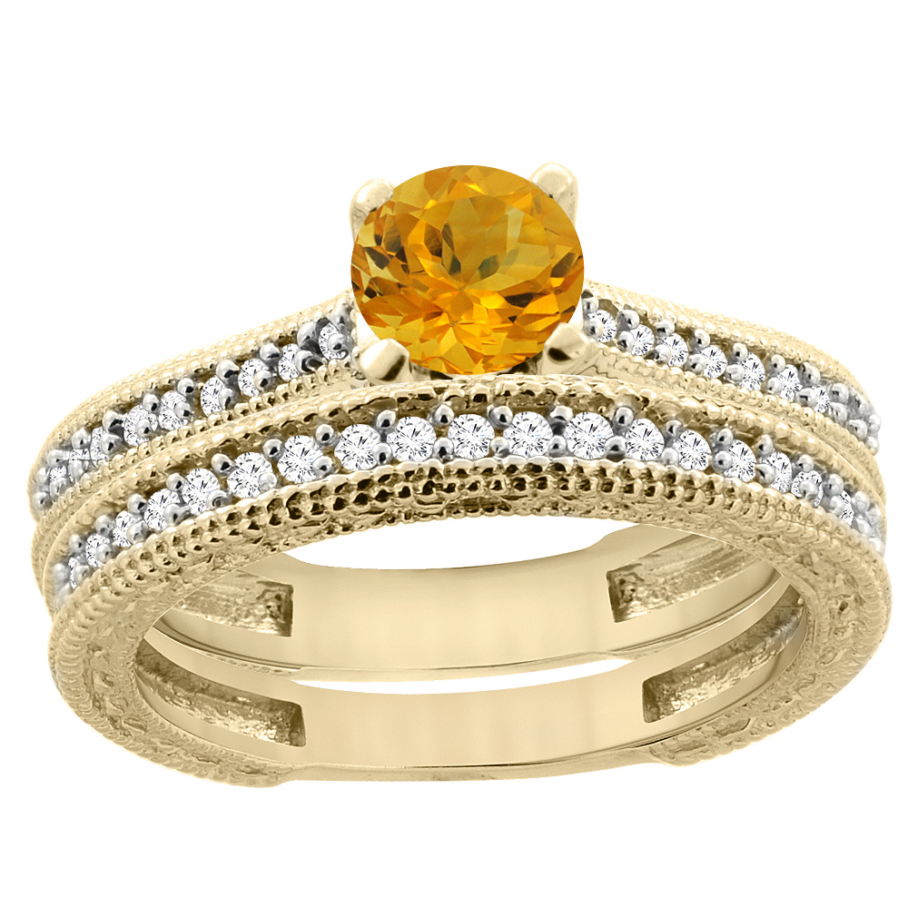14K Yellow Gold Natural Citrine Round 5mm Engraved Engagement Ring 2-piece Set Diamond Accents, sizes 5 - 10