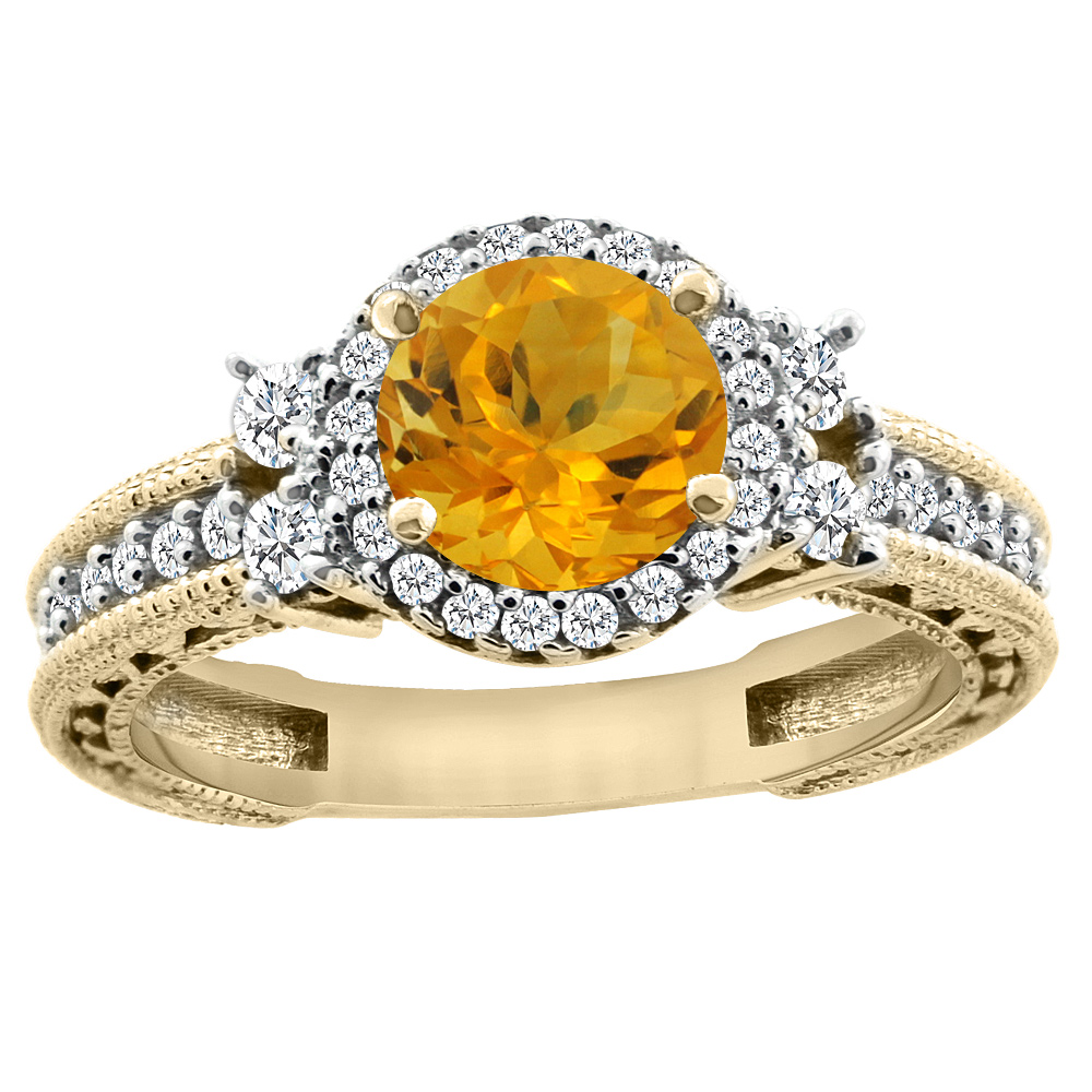 14K Yellow Gold Natural Citrine Halo Engagement Ring Round 6mm Diamond Accents, sizes 5 - 10