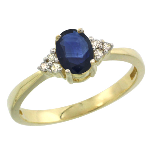 14k Yellow Gold Ladies Natural Blue Sapphire Ring oval 6x4 Stone Diamond Accent, sizes 5-10