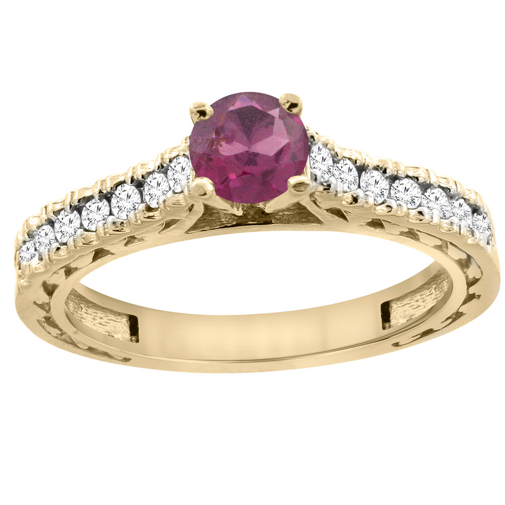 14K Yellow Gold Natural Rhodolite Round 5mm Engraved Engagement Ring Diamond Accents, sizes 5 - 10