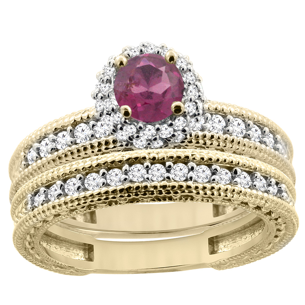 14K Yellow Gold Diamond Natural Rhodolite Round 4mm Engagement Ring 2-piece Set, sizes 5 - 10