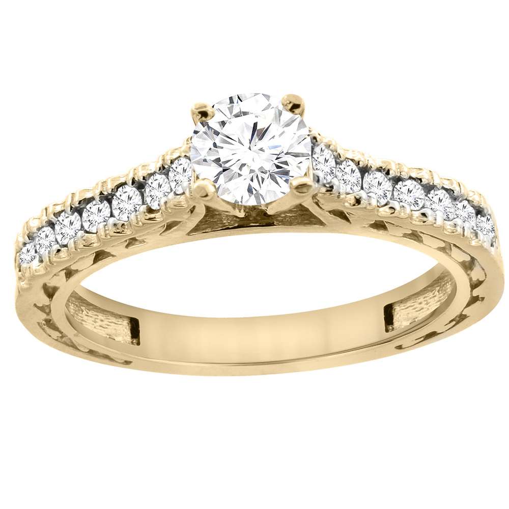 14K Yellow Gold Diamond Engraved Engagement Ring 0.70 cttw, sizes 5 - 10