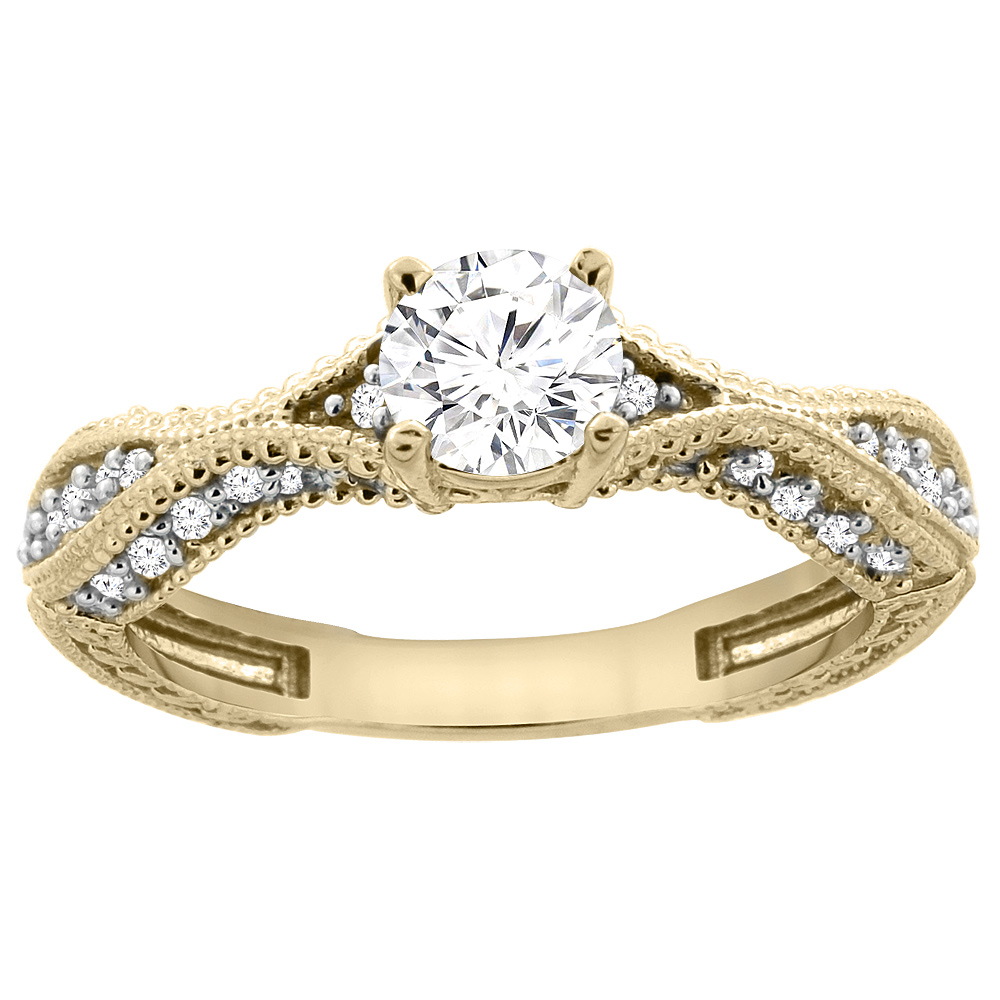 14K Yellow Gold Diamond Engraved Engagement Ring 0.75 cttw, sizes 5 - 10