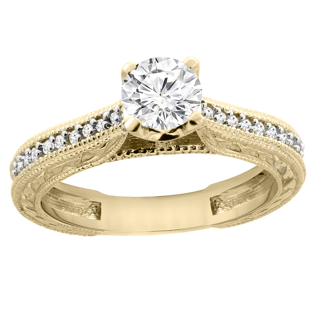 14K Yellow Gold Diamond Engraved Engagement Ring 0.65 cttw, sizes 5 - 10
