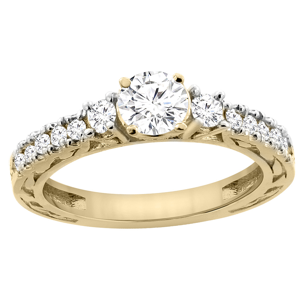 14K Yellow Gold Diamond Engraved Engagement Ring 1.12 cttw, sizes 5 - 10
