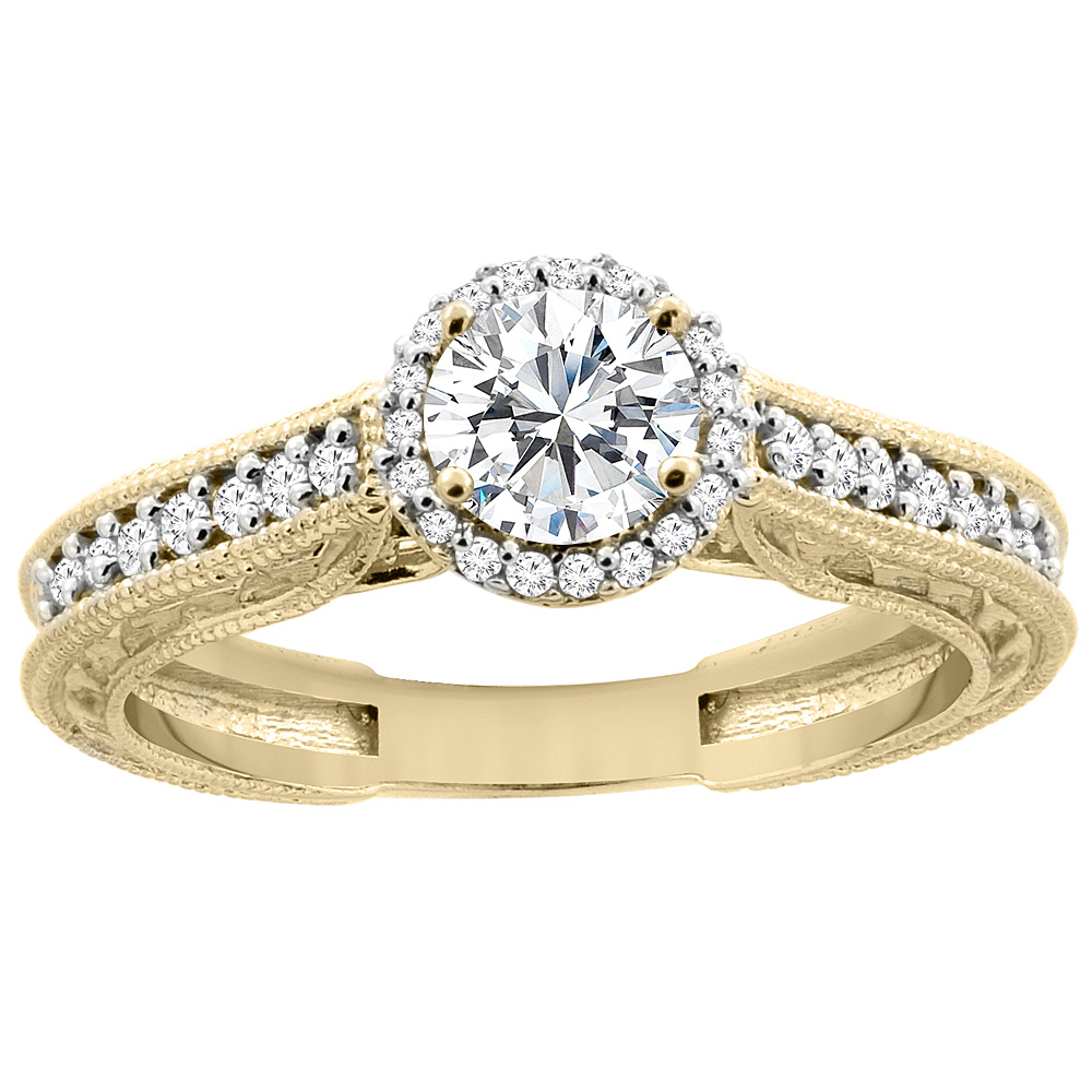 14K Yellow Gold Diamond Engraved Engagement Ring 0.64 cttw, sizes 5 - 10