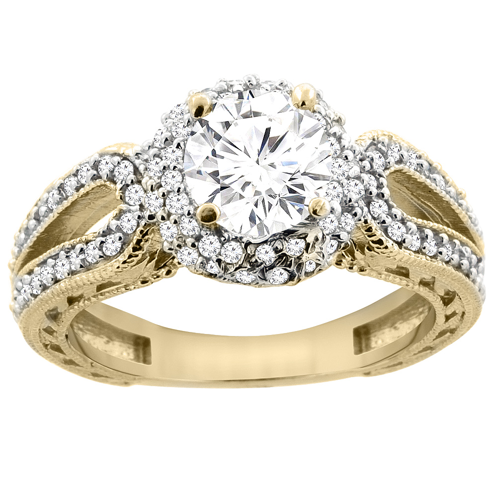 14K Yellow Gold Diamond Engagement Ring Engraved Split Shank 1.25cttw, sizes 5 - 10