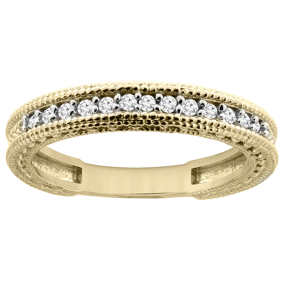 14K Yellow Gold Diamond Wedding Band Engraved Ring Half Eternity, sizes 5 - 10
