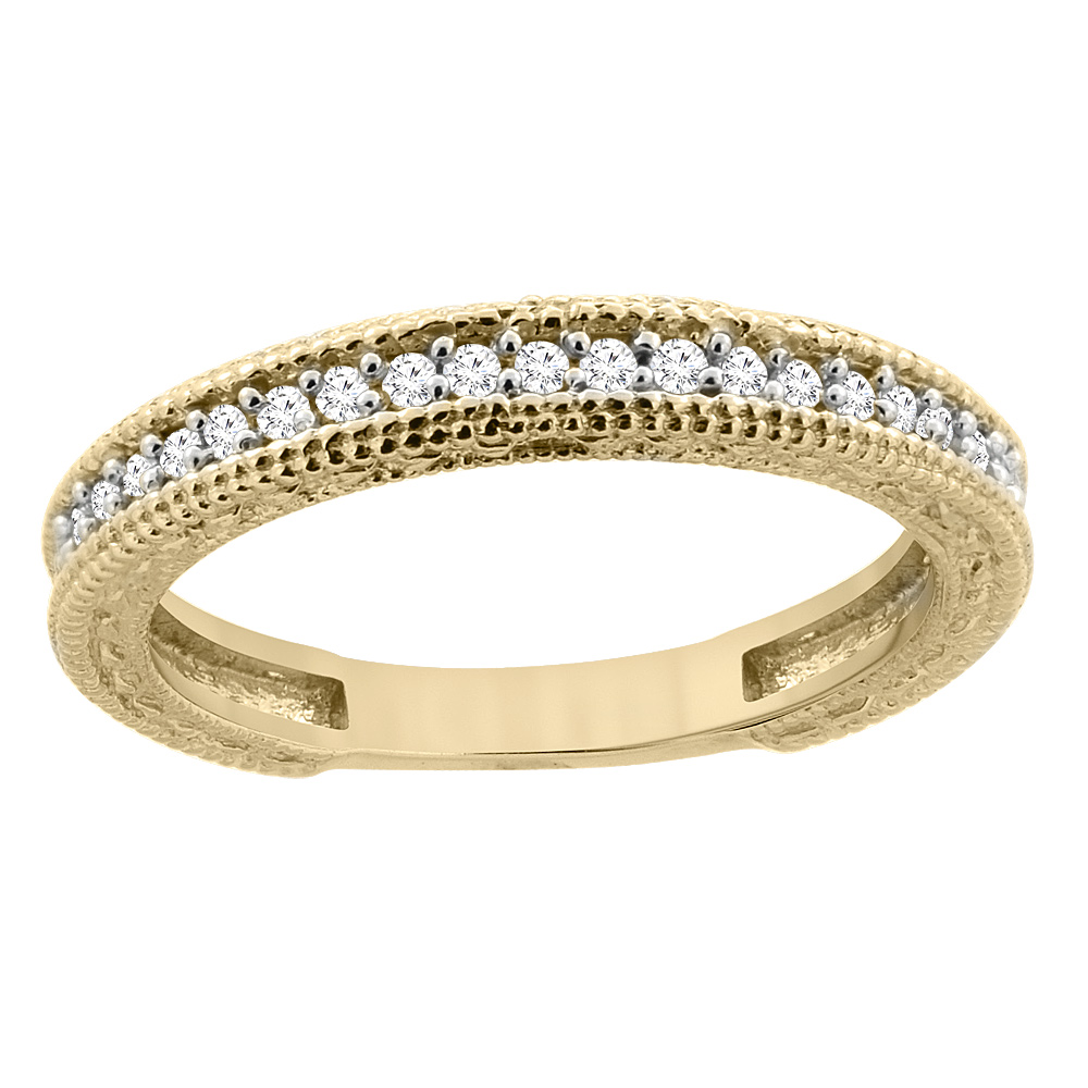 14K Yellow Gold Diamond Wedding Band Engraved Ring Half Eternity, sizes 5 - 10