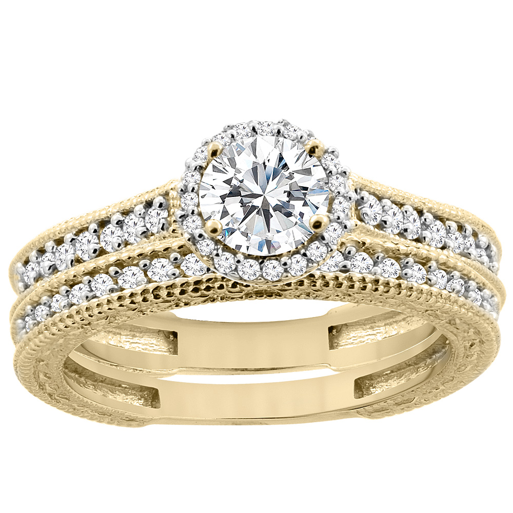14K Yellow Gold Diamond Engraved 2-piece Engagement Ring Set 0.78 cttw, sizes 5 - 10