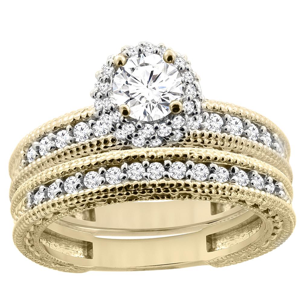 14K Yellow Gold Diamond Engraved Engagement Ring 2-piece Set 0.91 cttw, sizes 5 - 10