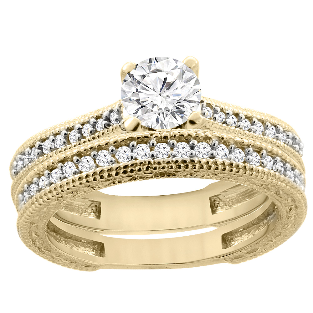 14K Yellow Gold Diamond Engraved Engagement Ring 2-piece Set 0.75 cttw, sizes 5 - 10