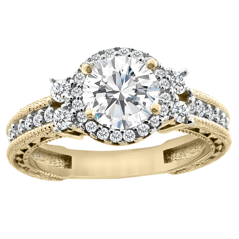 14K Yellow Gold Diamond Halo Engraved Engagement Ring 1.15 cttw, sizes 5 - 10