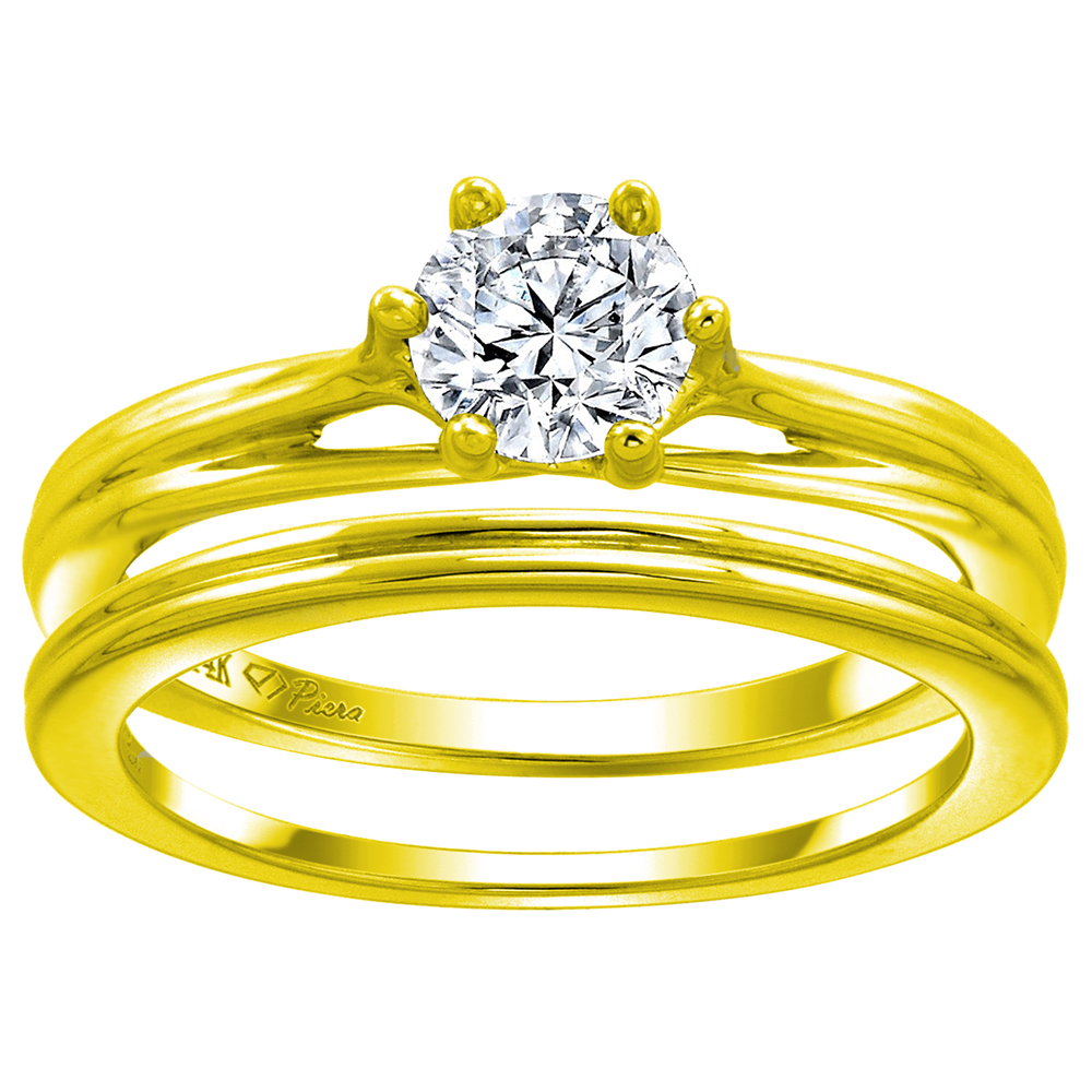 14k Yellow Gold 6mm Solitaire Engagement 2-pc Ring Set Assorted Gemstones Round, size 5-10