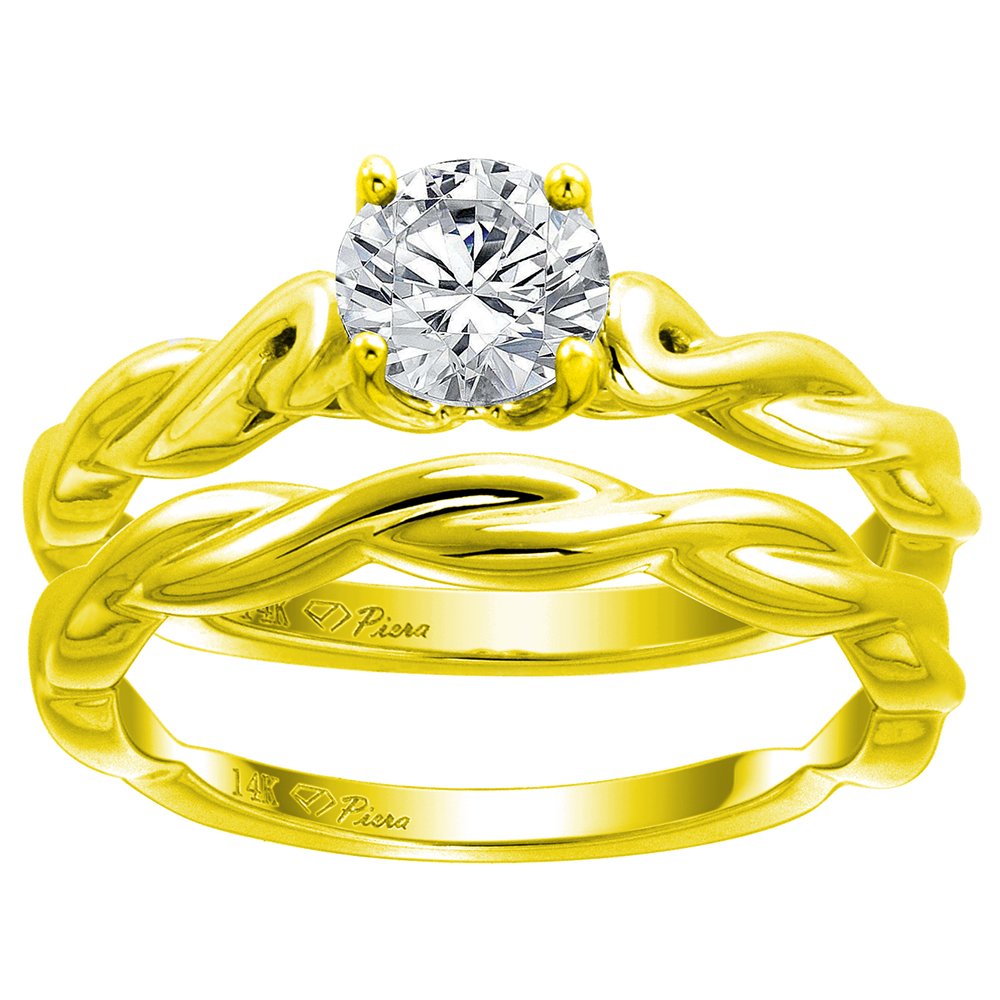 14k Yellow Gold Solitaire Engagement 2pc Ring Set Genuine Gem Round 6mm 1ct size Twisted Shank, size 5-10