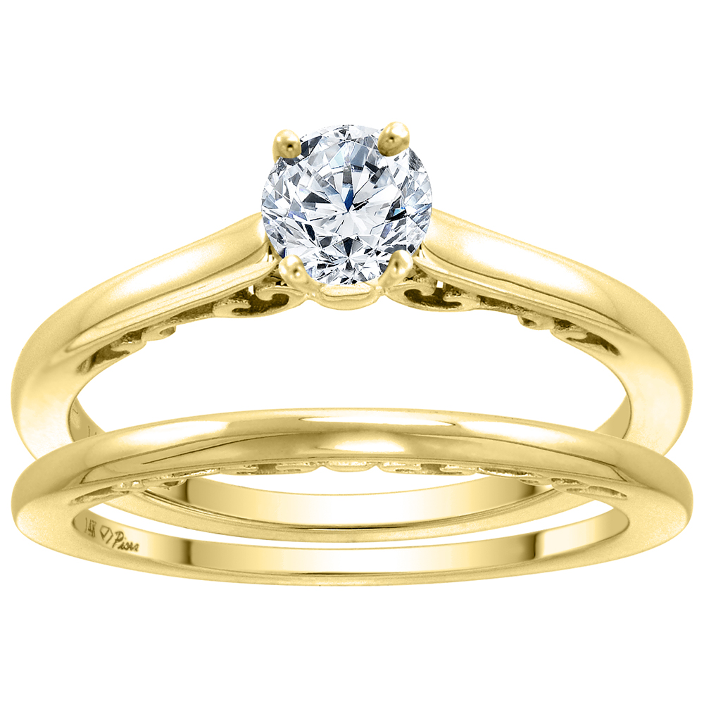 14k Yellow Gold Solitaire Engagement 2pc Ring Set Genuine Gem Round 4mm Decorative Gallery, size 5-10