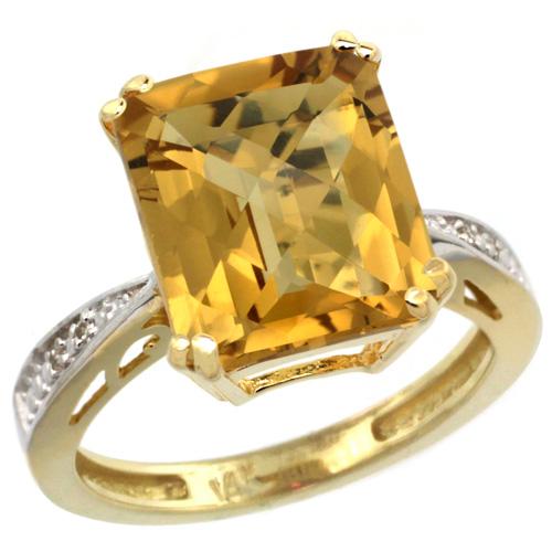 14K Yellow Gold Diamond Natural Whisky Quartz Ring Emerald-cut 12x10mm, sizes 5-10