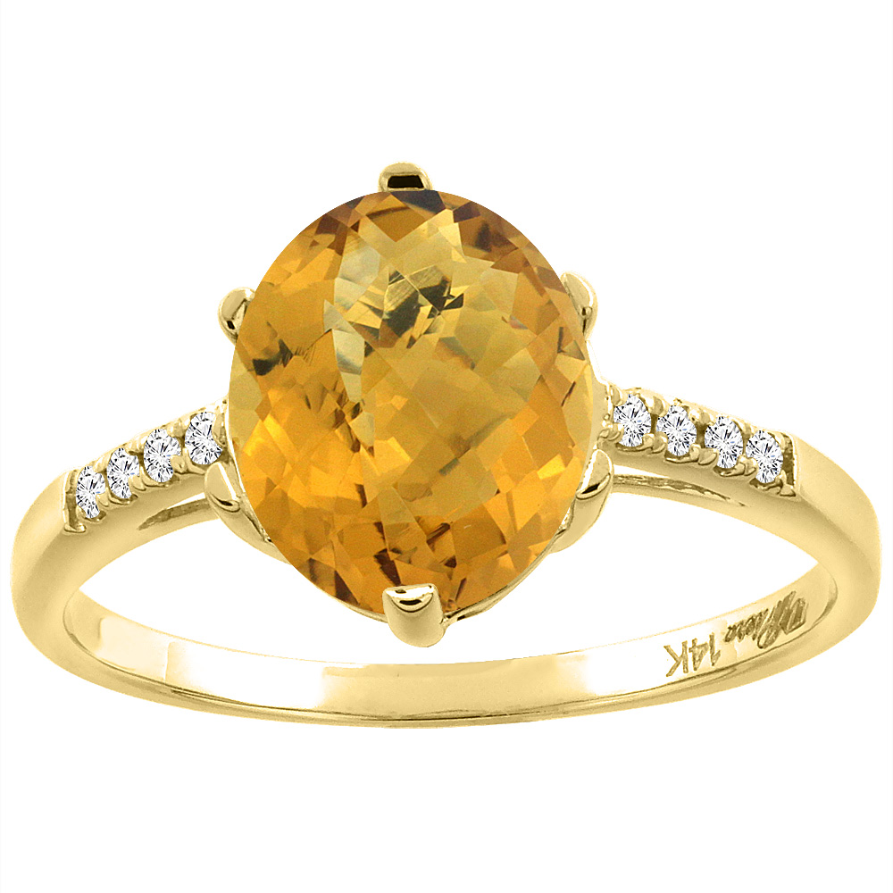 14K Yellow Gold Natural Whisky Quartz & Diamond Ring Oval 10x8 mm, sizes 5-10