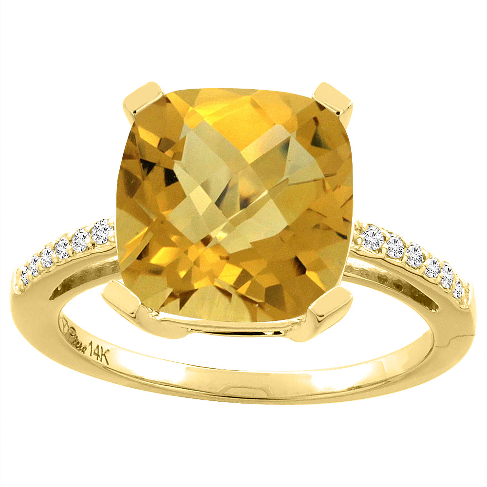 14K Yellow Gold Natural Whisky Quartz & Diamond Ring Cushion-cut 12x10 mm, sizes 5-10