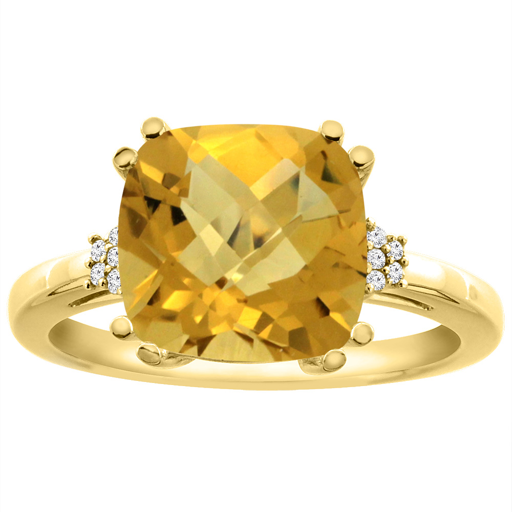 14K Yellow Gold Diamond Natural Whisky Quartz Engagement Ring Cushion-cut 10x10 mm, sizes 5-10