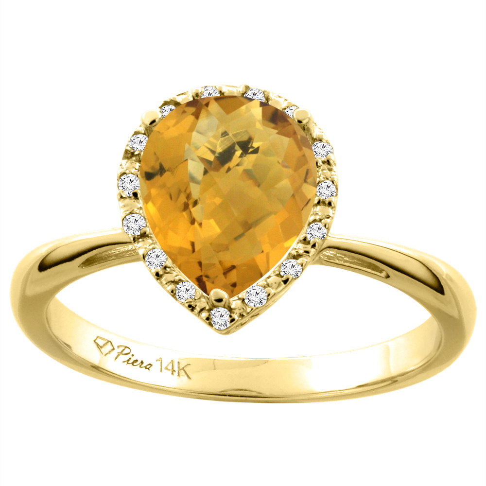 14K Yellow Gold Natural Whisky Quartz & Diamond Halo Engagement Ring Pear Shape 9x7 mm, sizes 5-10