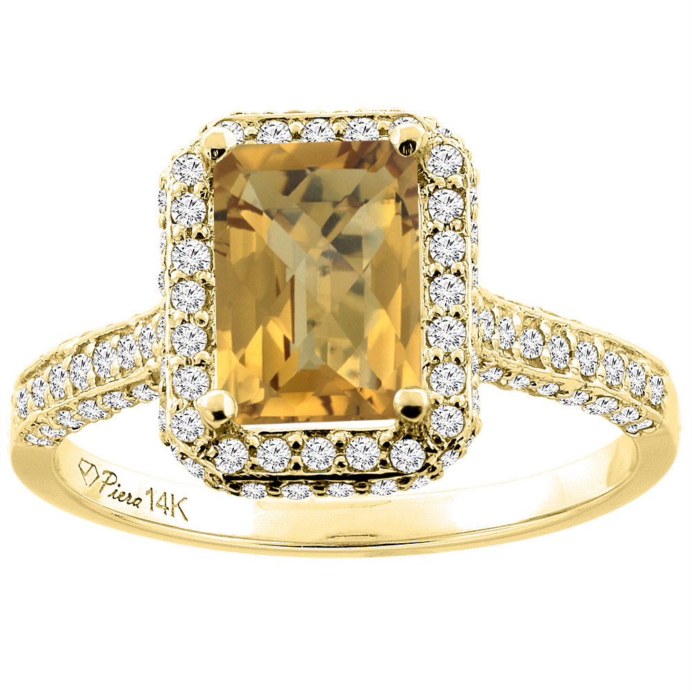 14K Yellow Gold Natural Whisky Quartz Engagement Ring Octagon 8x6 mm, sizes 5-10